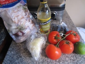black rice and shrimp ingredients