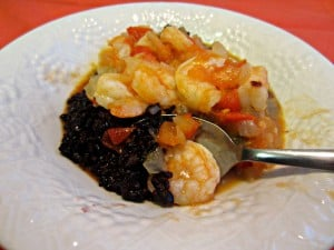 Black Rice with Tomato Shrimp