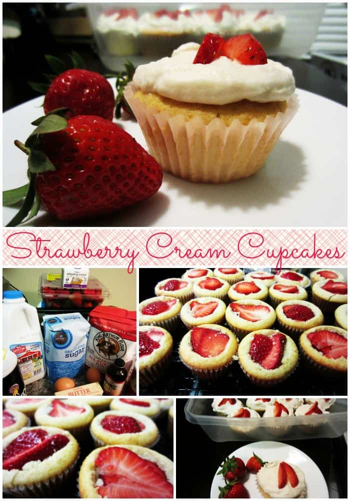 Strawberry Cream Cupcakes
