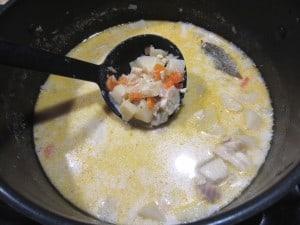 White Fish Chowder in pot
