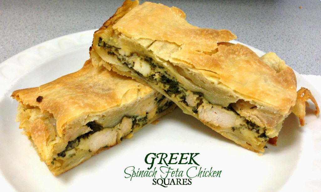 Greek Spinach Feta Chicken Squares