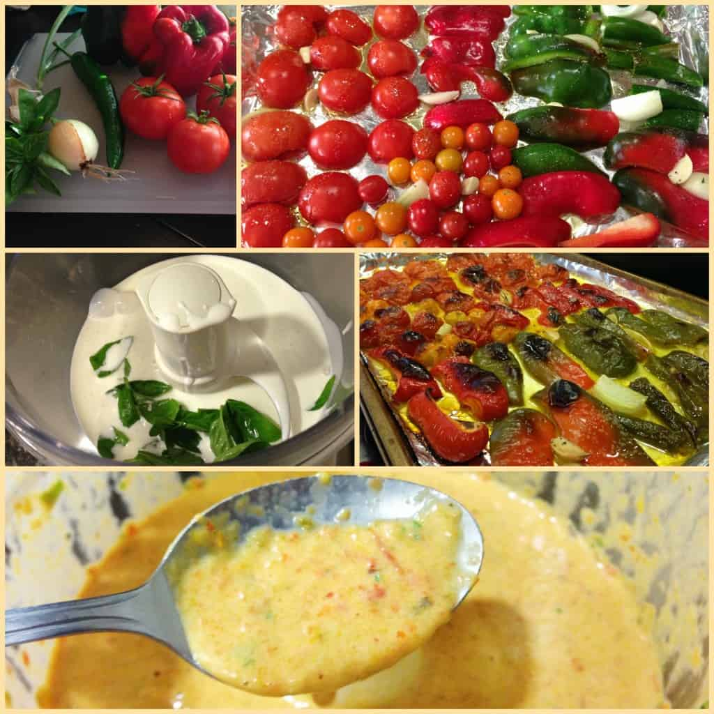 Roasted Red Pepper and Tomato sauce collage