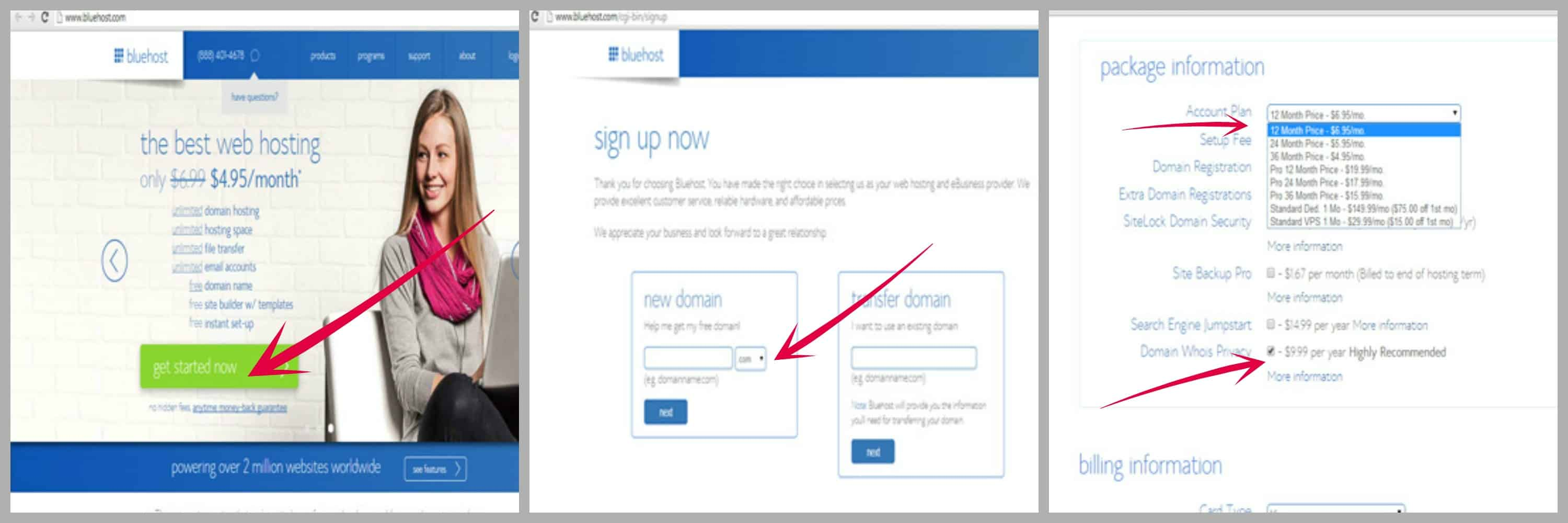 how to sign up for bluehost