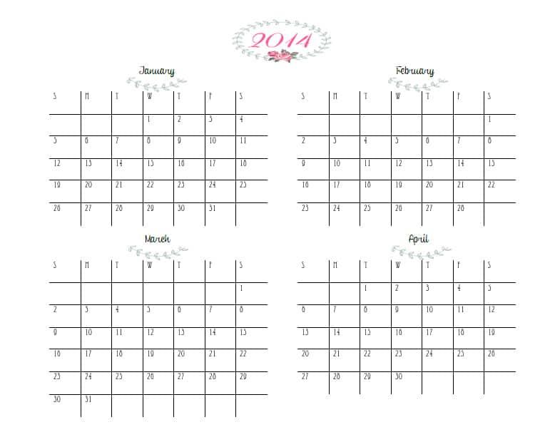 printable quarterly calendar 2015