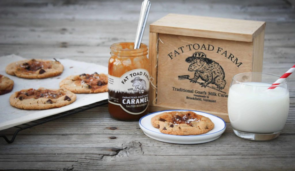 Bourbon Salted Caramel Chocolate Chip Cookies with Fat Toad Farm