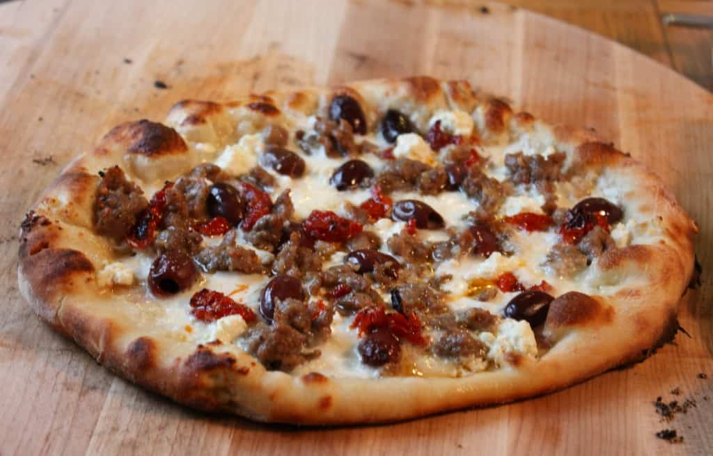 Mediterranean Pizza - Pizza with Sausage, Black Olives, Sun Dried Tomatoes and Feta