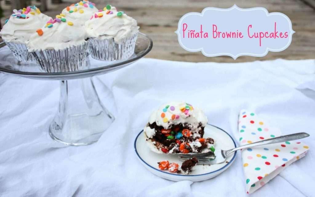Pinata Brownie Cupcakes  - Surprise Inside Cupcakes