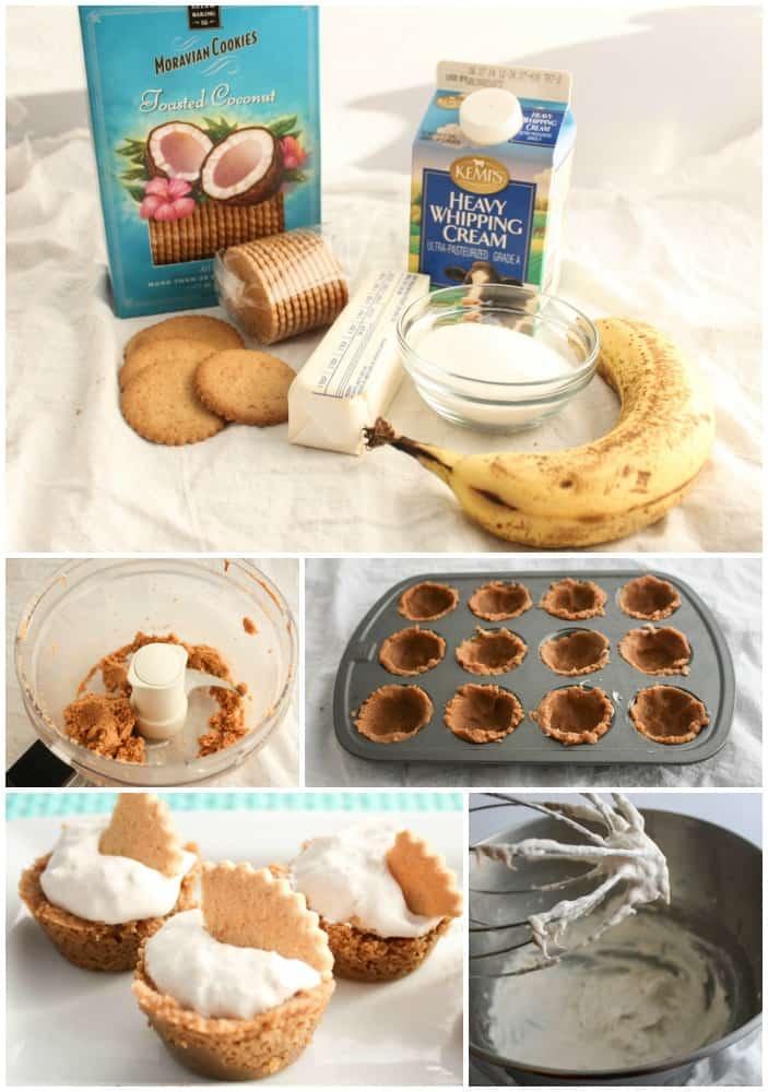 Coconut Banana Cream Pie made with Moravian Cookies