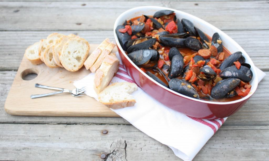Mussels with Chorizo in a spicy tomato broth