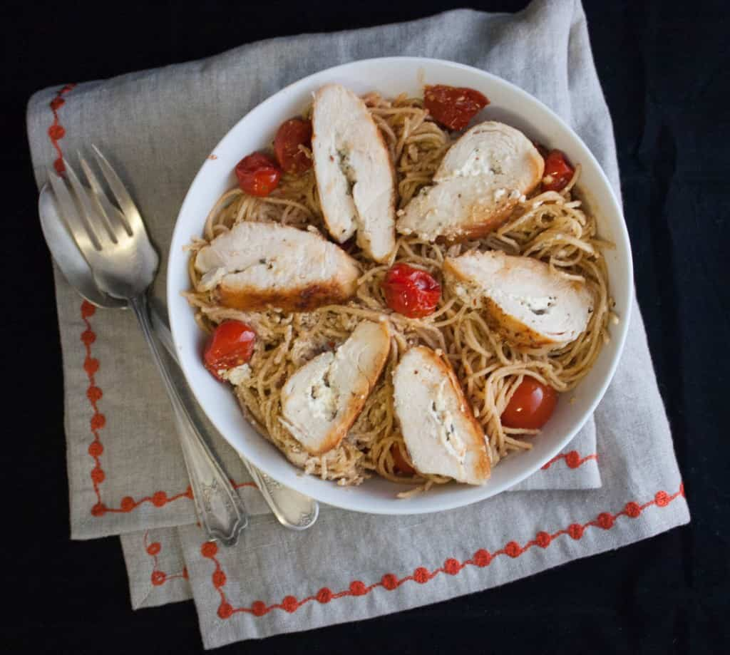 5 Ingredient Goat cheese stuffed chicken and spaghetti