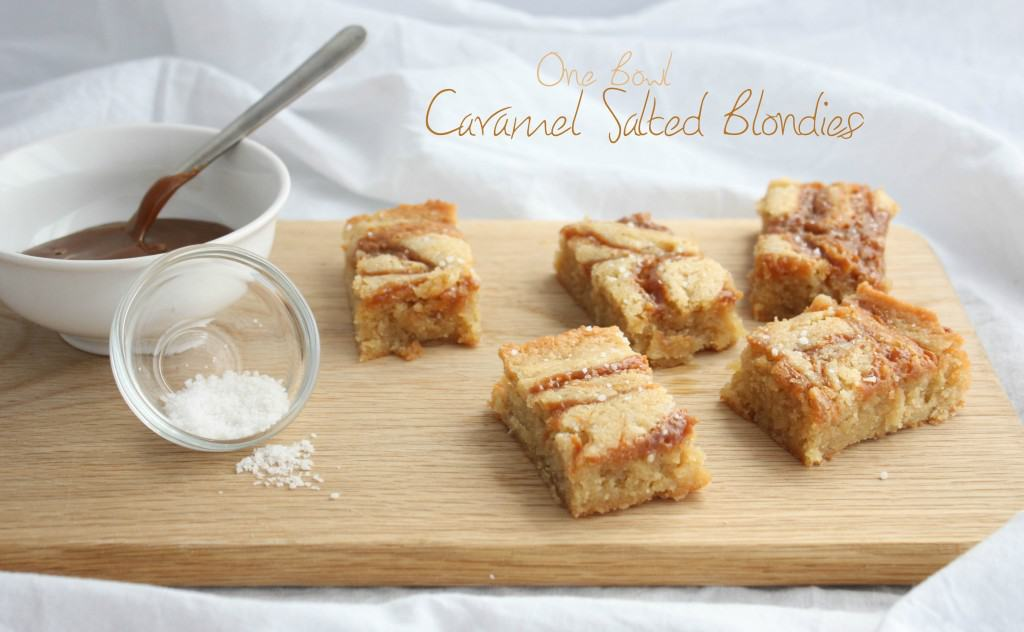 One bowl blondies caramel salted blondies