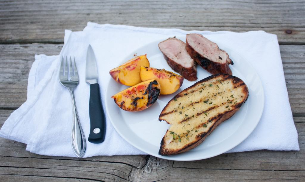 Grilled pork and peaches