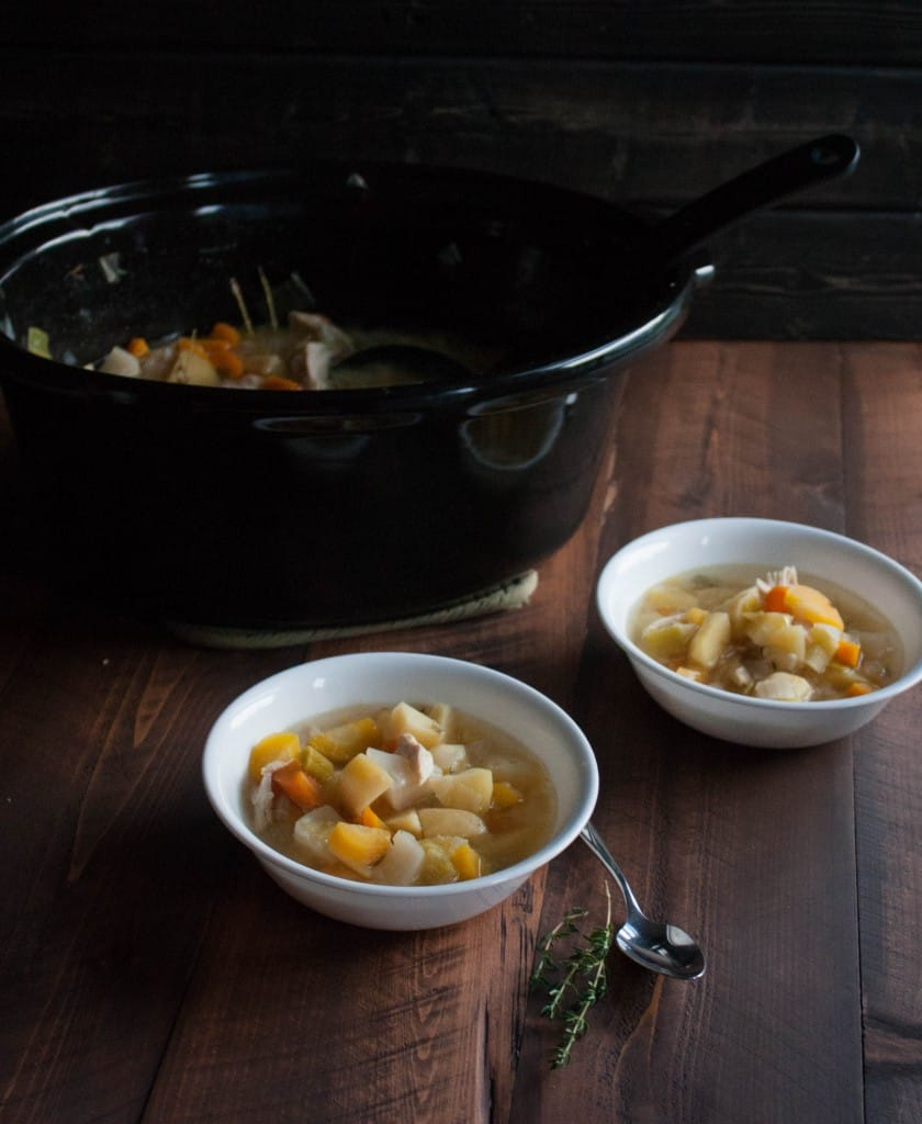 Farmers market chicken and vegetable soup with lemon