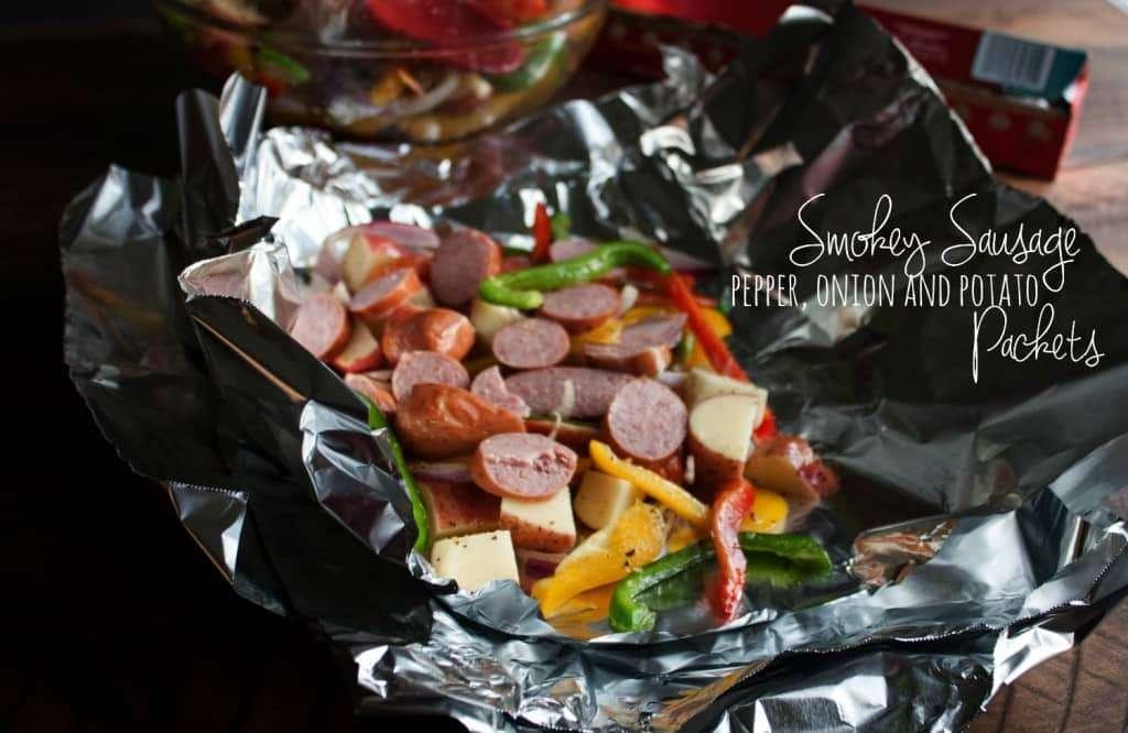 Sausage pepper onion potato packets - camping recipes