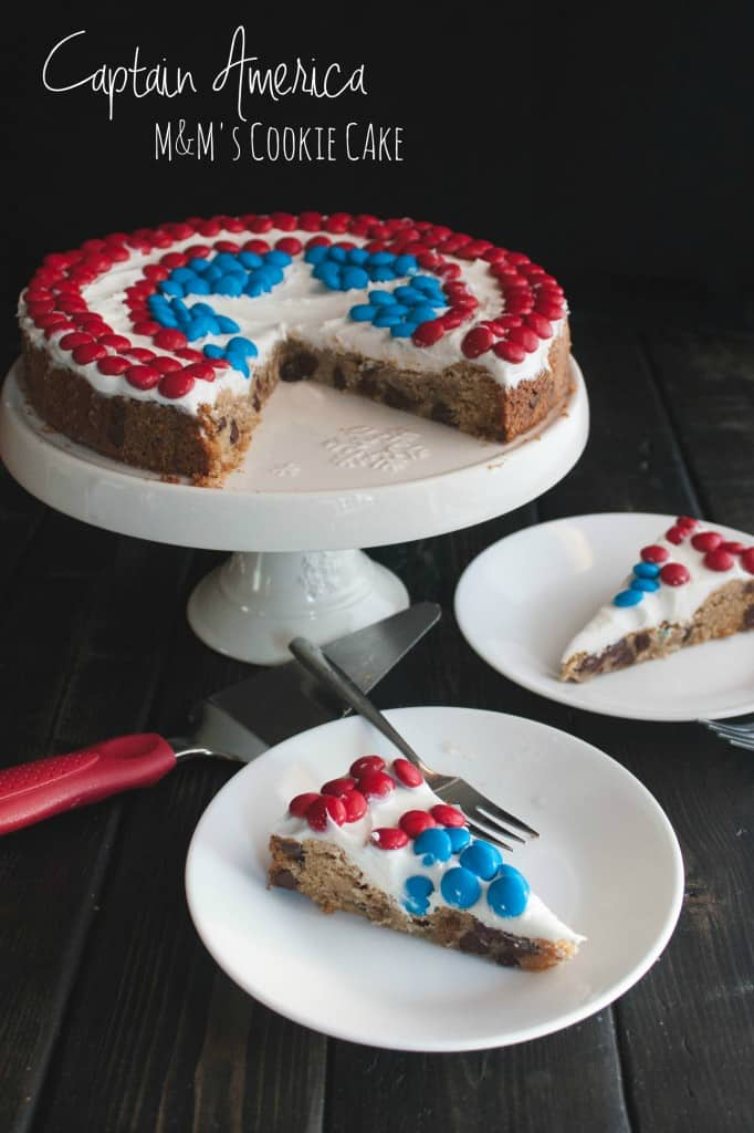 Captain-America-M&M's-Chocolate-Chip-Cookie-cake