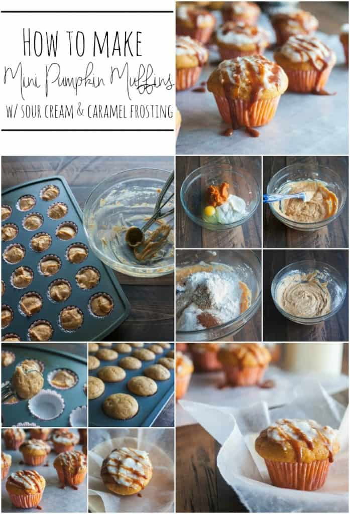 How-to-make-mini-pumpkin-muffins-with-sour cream-and-caramel-frosting