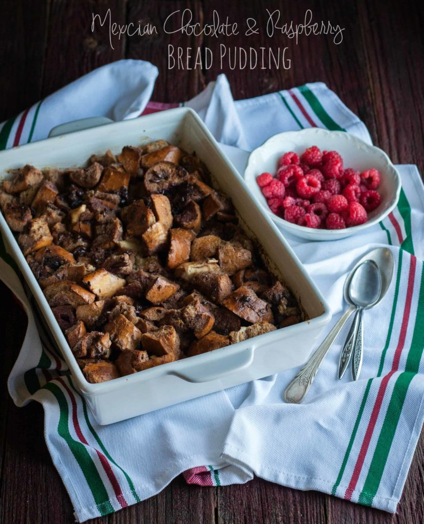 Mexican-chocolate-and-raspberry-bread-pudding