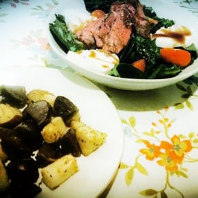 Reader recreation- steak caprese salad & roasted kohlrabi and potatoes