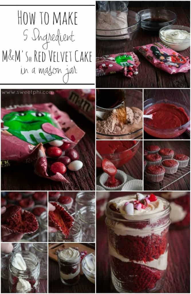 How-to-make-5-ingredient-red-velvet-m&ms-cake-in-a-mason-jar from www.sweetphi.com @sweetphi