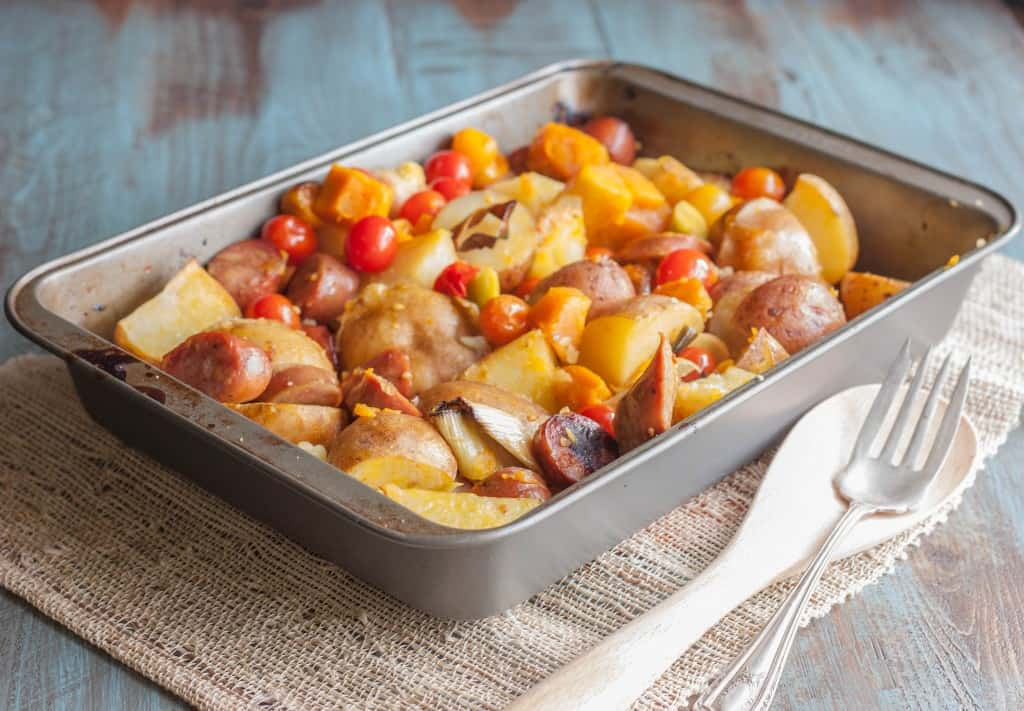 Chicken-sausage-and-roasted-potatoes-and-carrots