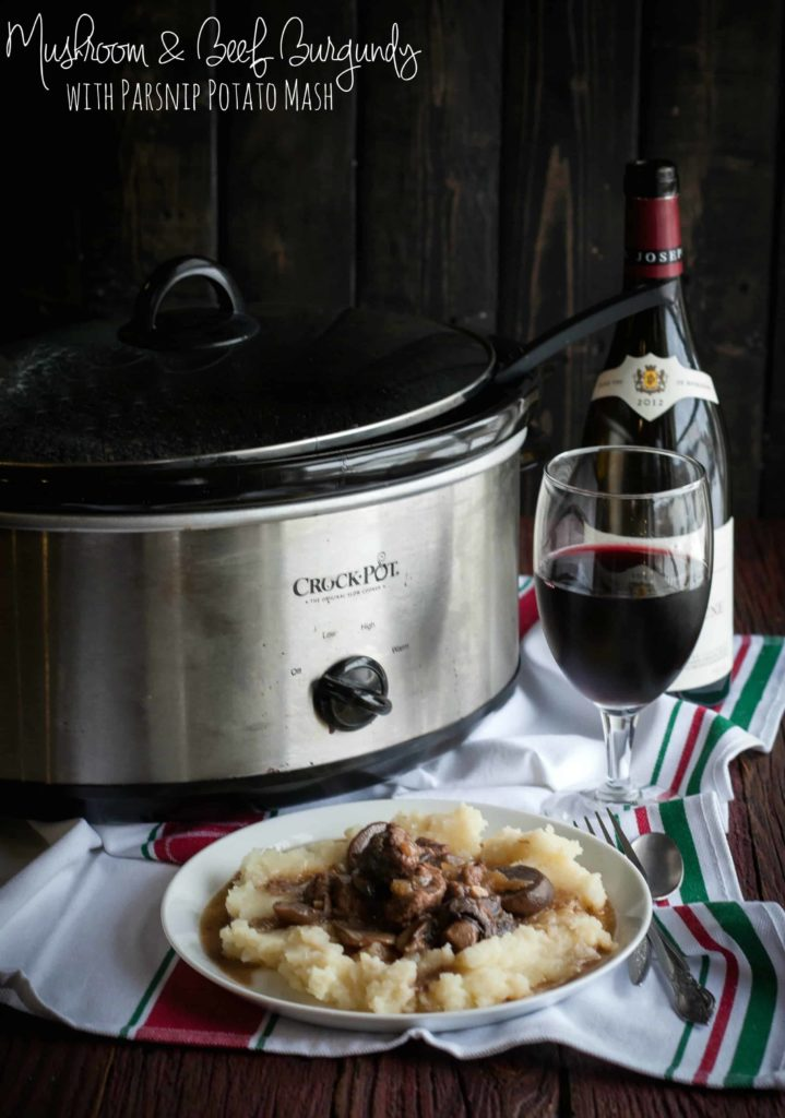 Slow cooker mushroom and beef burgundy