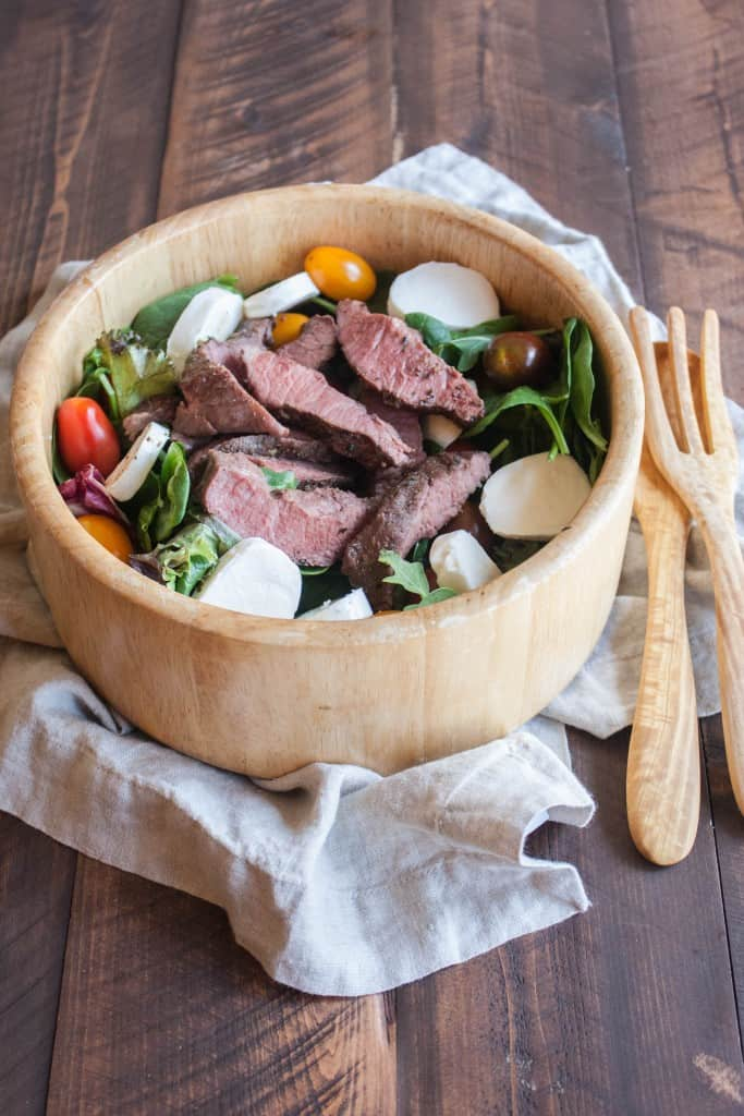 Flat-iron-steak-caprese-salad
