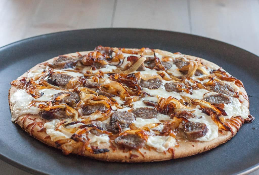 beer-brat-and-caramelized-onion-flatbread