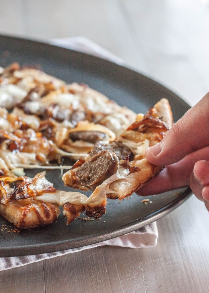 Brat and onion pizza - tailgating pizza