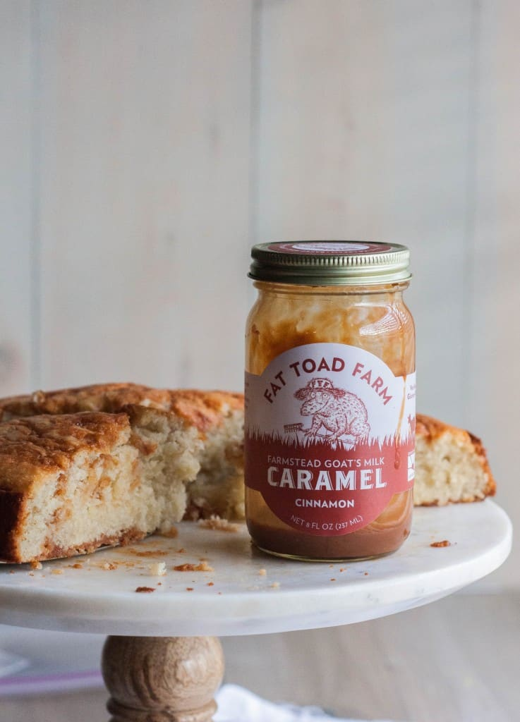Banana cake with Fat Toad Farm cinnamon caramel