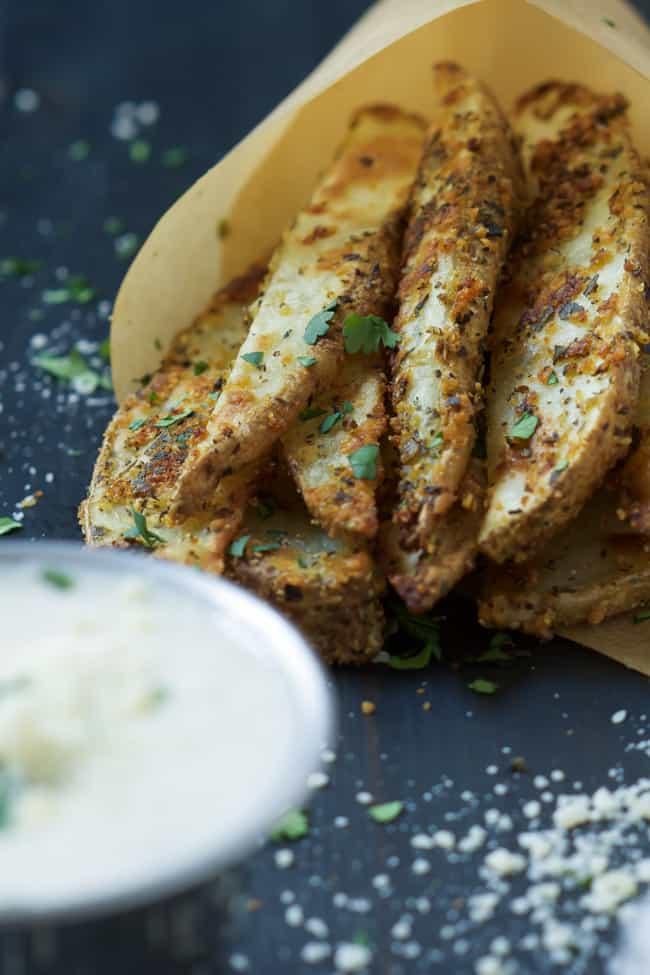 Crispy Parmesan Fries with Roasted Garlic Aioli