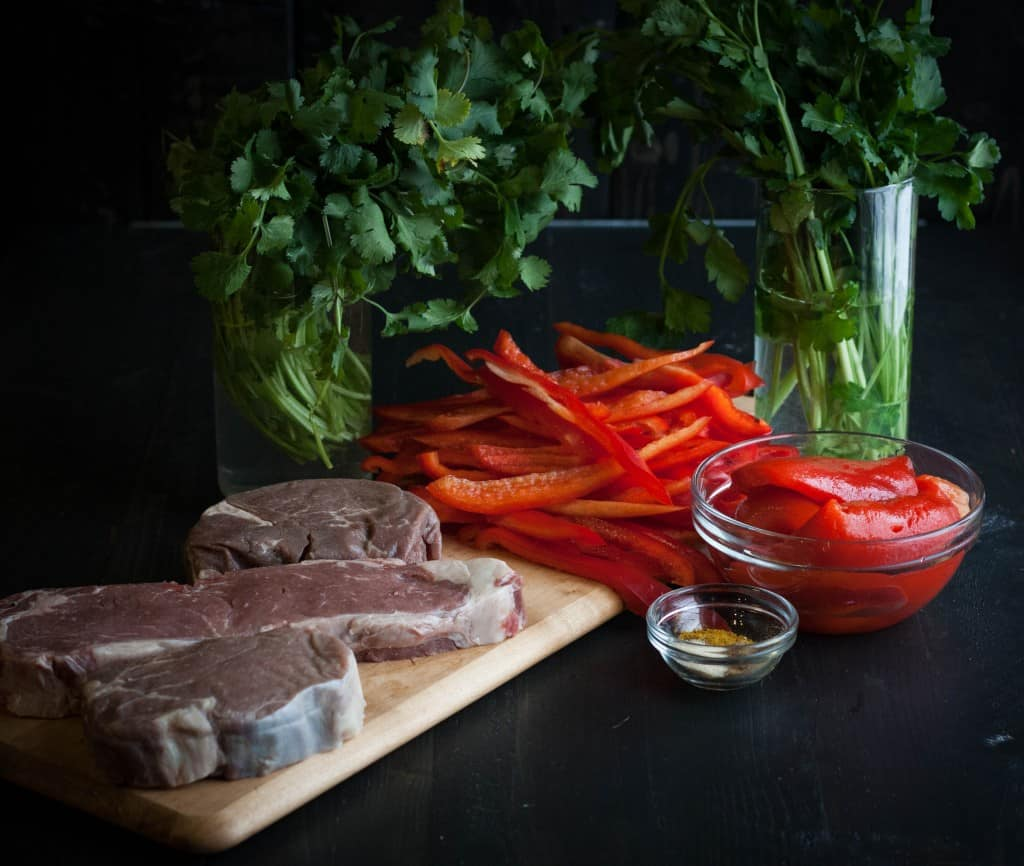 Curry-crusted-steak-with-roasted-red-pepper-chimichurri-ingredients