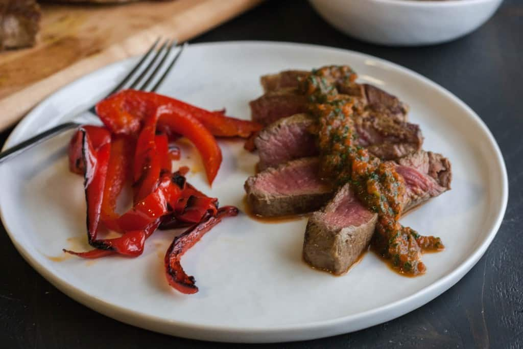 Curry crusted steak and peppers - whole30 dinner
