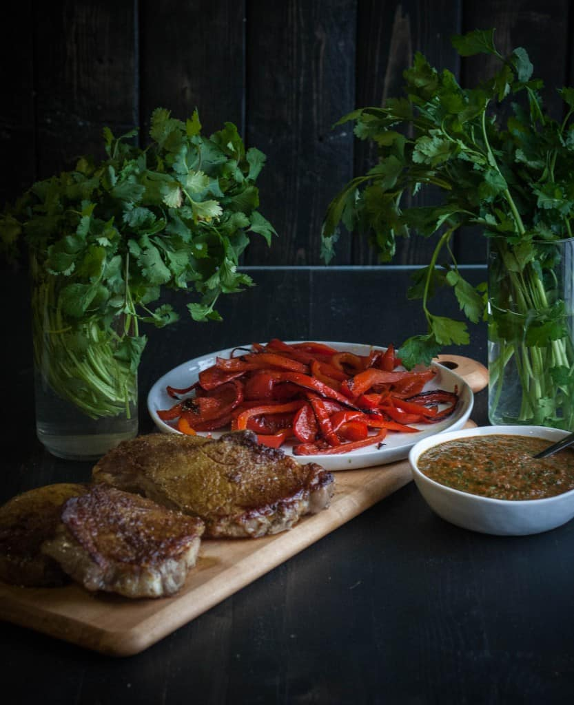 Curry crusted steak with roasted red peppers