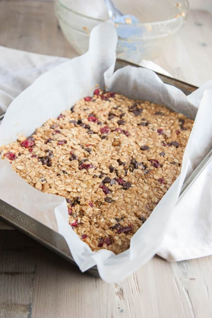 banana peanut butter chocolate chip cranberry granola bars