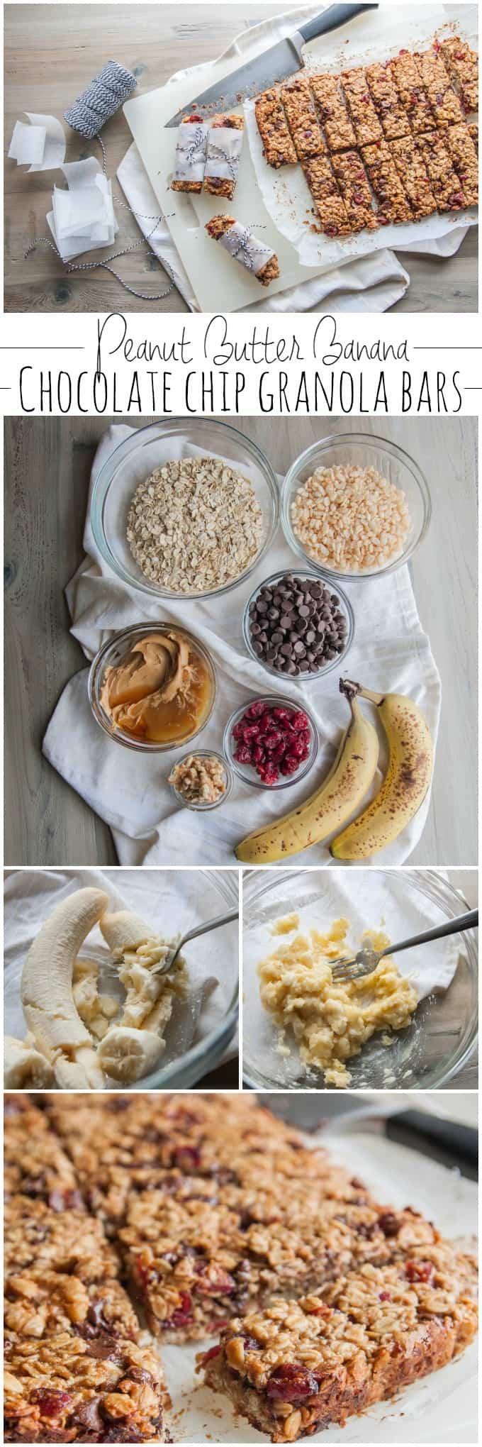 Peanut butter banana chocolate chip granola bars from @sweetphi