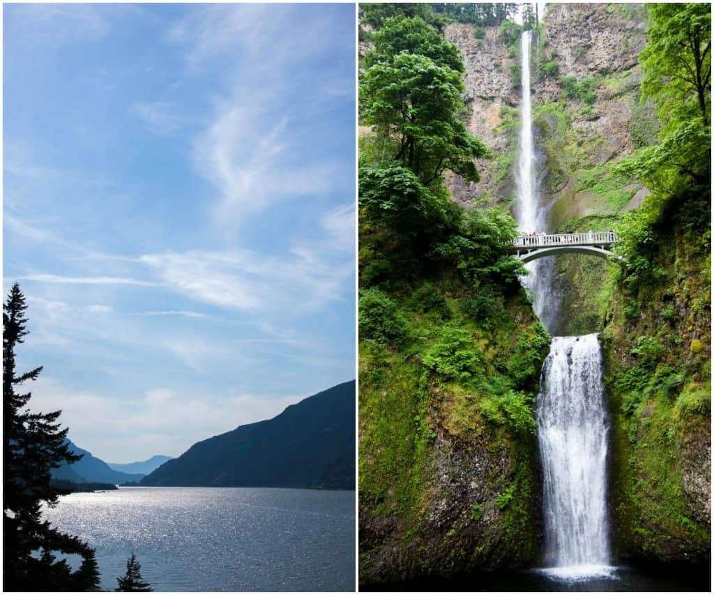 Columbia river and multnomah falls