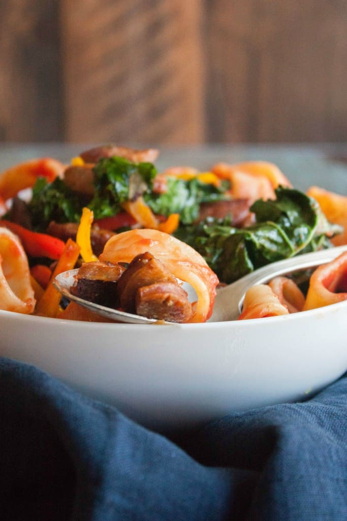 Pasta with Italian sausage peppers and kale