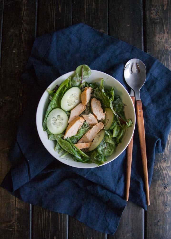 Chicken salad with yogurt cucumber dill dressing from @sweetphi