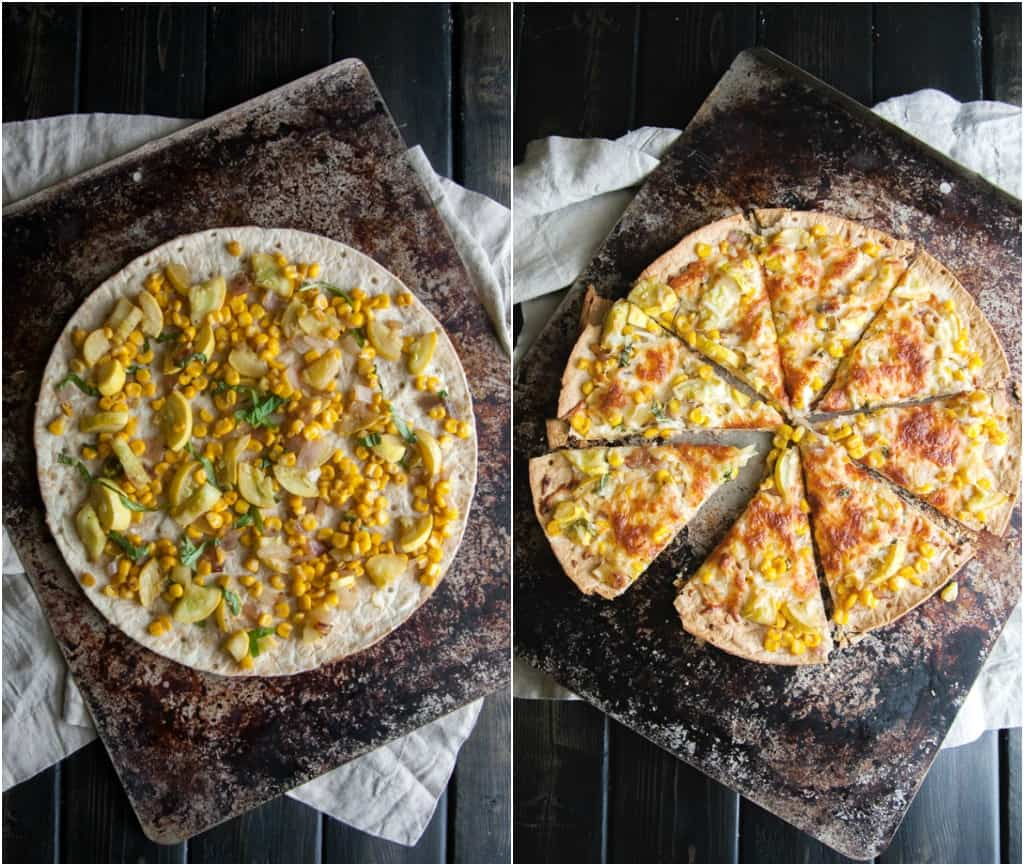 Corn and zucchini pizza from @sweetphi