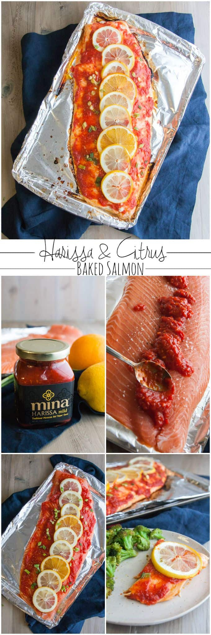 Harissa and citrus baked salmon from @sweetphi
