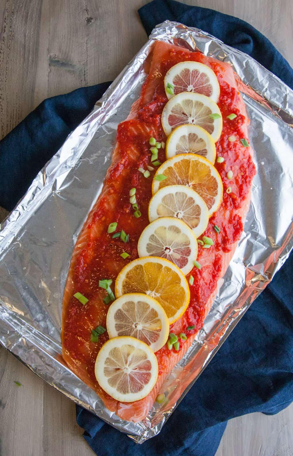 Harissa-citrus-baked-salmon