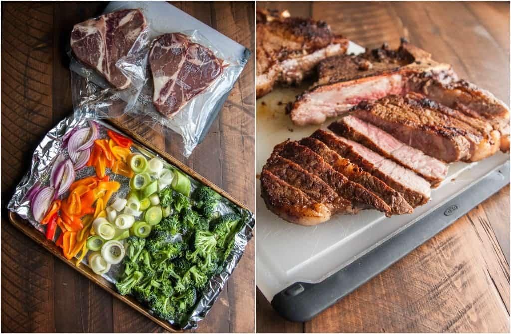 Steak and roasted rainbow vegetable bowls