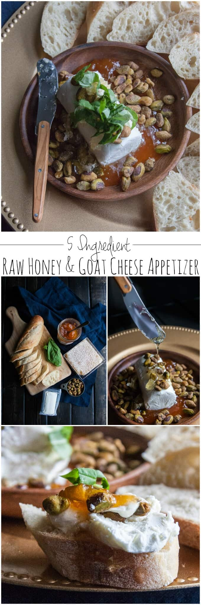 Super easy 5 ingredient raw honey and goat cheese appetizer from @sweetphi