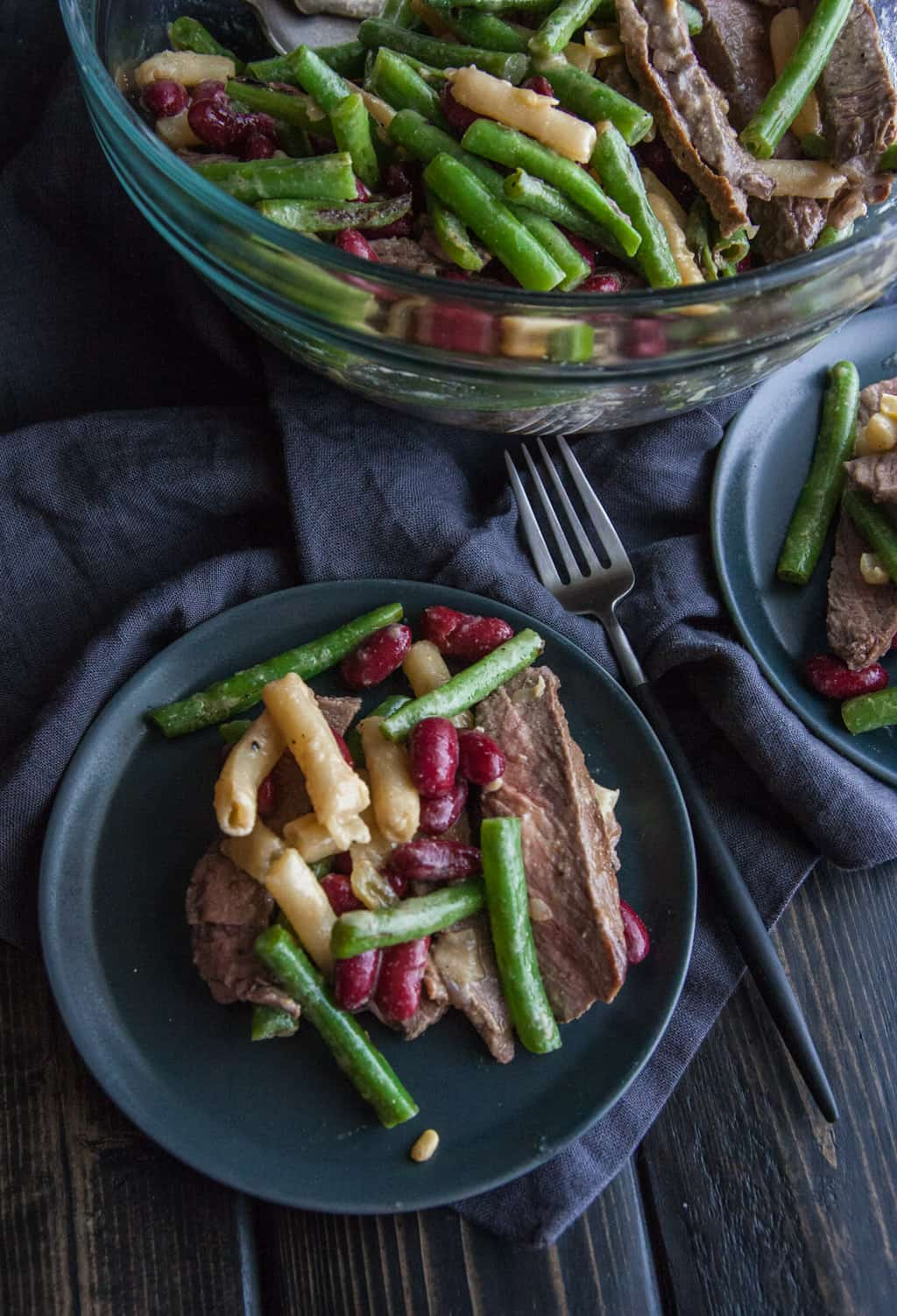 Three bean and steak salad recipe from @sweetphi