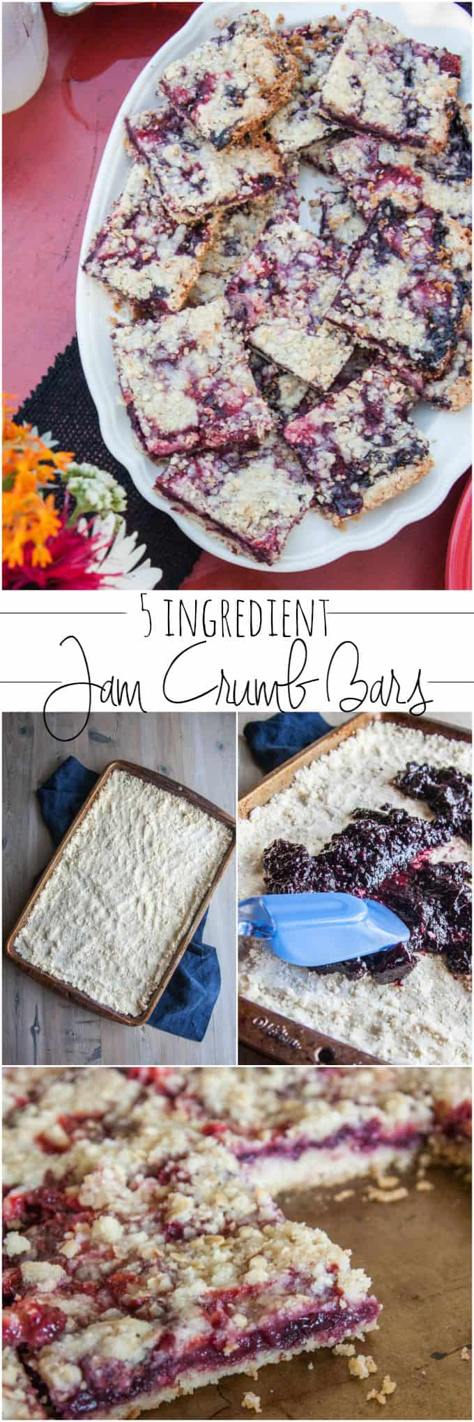 5 ingredient jam crumb bars - a super easy dessert that feeds a crowd from @sweetphi