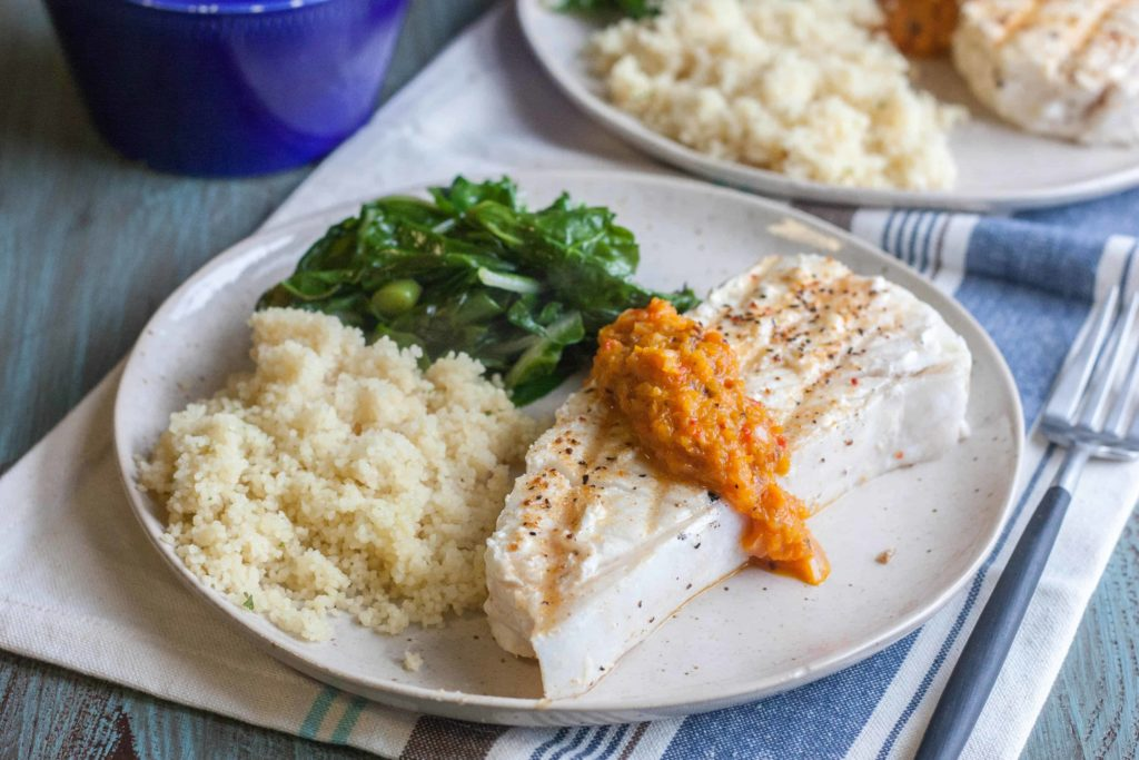 Halibut steaks with a roasted red pepper tapenade sauce from @sweetphi