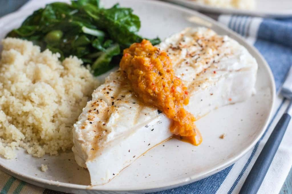 Halibut-steak-with-roasted-pepper-tapenade
