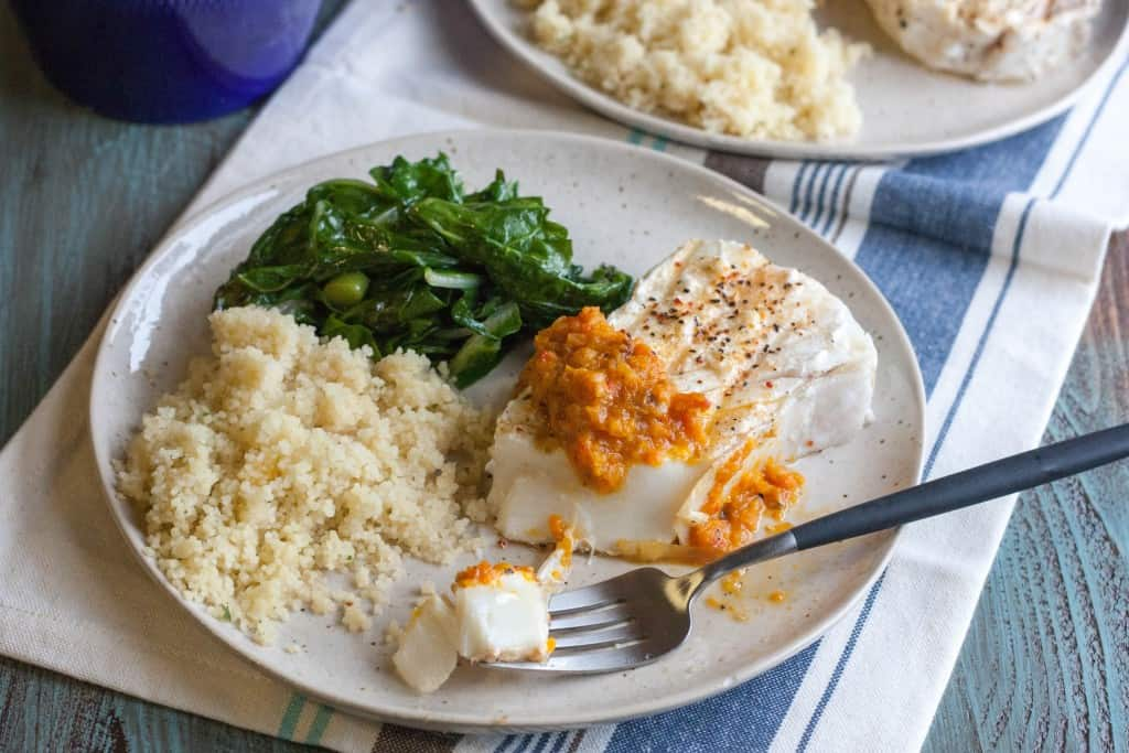 Halibut steaks with red peppers from @sweetphi