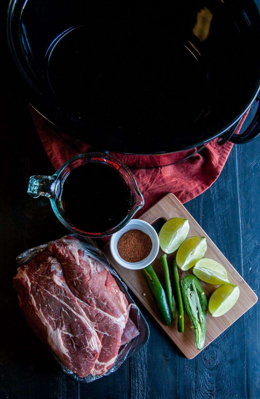 Crock pot 5 ingredient Mexican beef ingredients from @sweetphi