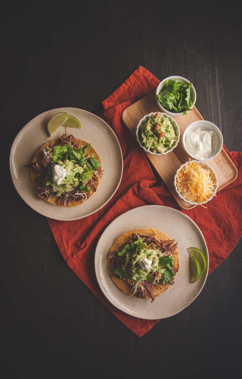 Shredded beef tostadas from @sweetphi